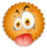 Cookie with silly face Royalty Free Stock Image