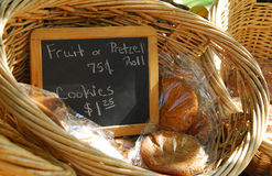 Cookie Stand. A wicker basket full of cookies for sale in Colonial Williamsburg Royalty Free Stock Images