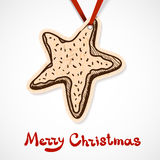 Cookie star. Paper label on ribbon. Stock Images