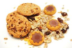 Cookie stars with chocolate and cereals Stock Image