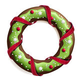 Cookie stylized christmas wreath. Isolated stock illustration