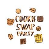 Cookie Swap lettering. Vector concept design. vector illustration