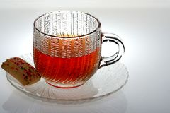 Cookie and Tea. Glass cup of  tea and cookie Royalty Free Stock Photo