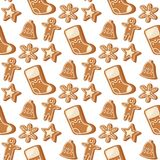 Cookie traditional christmas food seamless pattern background desserts holiday decoration xmas sweet celebration meal Stock Photo