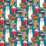 Cookie traditional christmas food seamless pattern background desserts holiday decoration xmas sweet celebration meal Stock Images