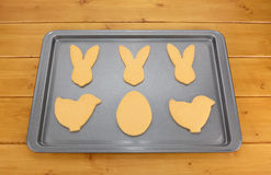 Cookie tray of Easter-shaped biscuits Royalty Free Stock Photography