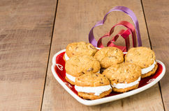 Cookie tray with filled cookies and cutters Royalty Free Stock Photography