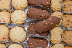 Cookie trays. Photos close up cookie tray Royalty Free Stock Photo
