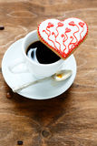 Cookie for Valentine's day with cup coffee Stock Photos