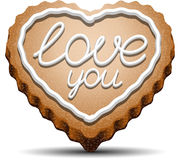 Cookie for Valentines Day. Cookie in the shape of a heart with the inscription love you. EPS 10 stock illustration