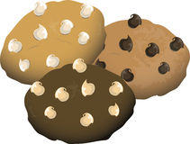 Cookie variety. Illustration of a vareaity of cookies with chips Royalty Free Stock Image