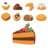 Cookie vector cakes tasty snack delicious chocolate homemade cookie pastry biscuit cakes sweet dessert bakery food. Illustration. Vector traditional gourmet Royalty Free Stock Images