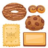 Cookie vector cakes top view sweet homemade breakfast bake food biscuit bakery cookie pastry illustration. Baked delicious chocolate tasty snack Royalty Free Stock Photos