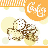Cookie vector card. Hand-drawn poster with calligraphic element. Art illustration.  Sweet icon Royalty Free Stock Photo