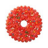 Cookie vermelha redonda do Natal Imagem de Stock