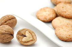 Cookies. With nut on a white plate Royalty Free Stock Photo