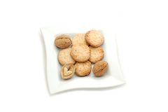 Cookies. On a white plate Stock Images