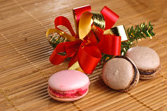 Cookies. Raspberry and chocolate cookies with christmas decoration Stock Photography