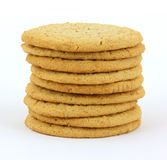 Cookies. A stack of cookies against a white background stock photography