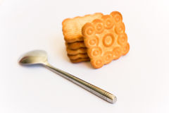 Cookies. Freshly baked cookies and spoon Royalty Free Stock Photography