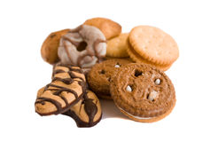 Cookies. Chocolate and shortcake cookies of the white background Stock Photos
