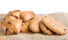 Cookies. Shortcake cookies on the sackcloth Stock Image