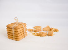 Cookies. Connected by a rough cord on a sacking Royalty Free Stock Image