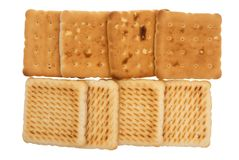 Cookies. Wheat flat cookies on a white background Stock Images