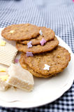 Cookies. Fudge and wafer on plate Royalty Free Stock Photo