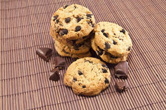 Cookies. And pieces of chocolate in the photo Royalty Free Stock Images