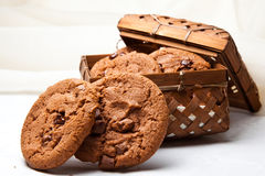 Cookies. Brown cookies in a wicker box Stock Photos