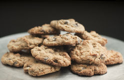 Cookies. Silver plate full of fresh chocolate chip cookies Royalty Free Stock Photography