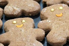 Cookies. Ginger bear cookies with golden ball eyes and orange sickle smile Stock Photography