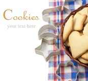 Cookies. With cutters isolated on white royalty free stock photos
