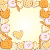 Cookies. Frame of sweet biscuits and cookies Stock Image