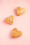 Cookies. Heart scones on pink background Royalty Free Stock Photo