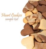 Cookies. Heart shaped cookies isolated on white background royalty free stock photos