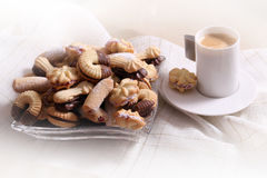 Cookies. Cup of coffee and cookies with chocolate Stock Photography