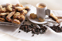 Cookies. Cup of coffee and cookies with chocolate Royalty Free Stock Photos