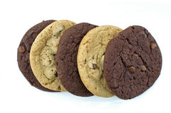 Cookies. Layers of chocolate and chocolate chips cookies stock images