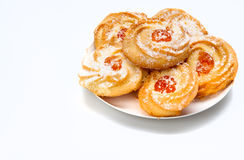 Cookies. Six cookies with jam on plate  on white Royalty Free Stock Photography