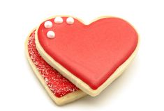 Cookies. Decorated with heart shape on white background Stock Image