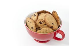 Cookies. View of delicious homemade chocolate cookies in a red cup Royalty Free Stock Image