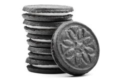Cookies. Oreo-style cookies over a white background royalty free stock image