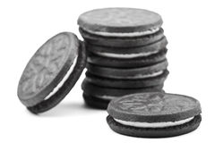 Cookies. Oreo-style cookies over a white background Royalty Free Stock Photo