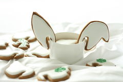 Cookies. Rabbit ears icing cookies ,delicious teatime Royalty Free Stock Image