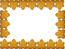 Cookies. Border (real) cookies with maple Royalty Free Stock Photos
