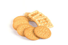 Cookies. Round and square cookies on white background royalty free stock image