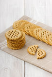 Cookies. On a beige linen napkin Royalty Free Stock Photography