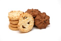 Cookies. Sweet cookies sprinkled by sugar on a white background Royalty Free Stock Photo